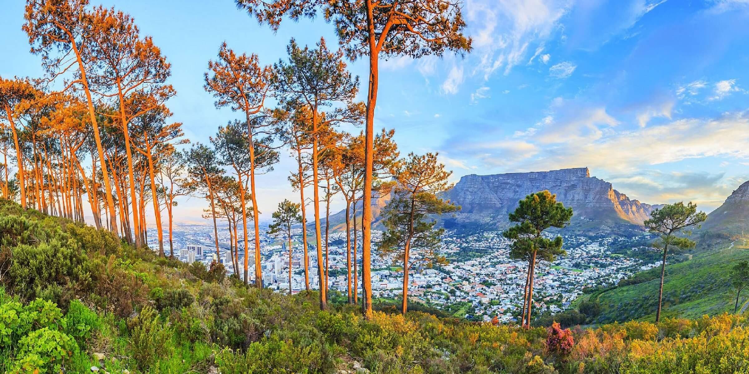 Der Blick nach Kapstadt in Südafrika