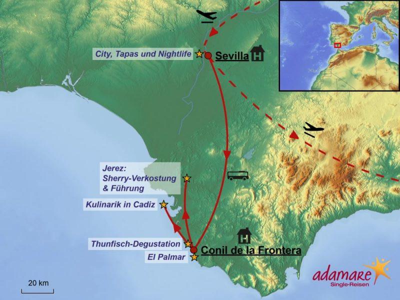 Reiseroute der Kulinarik-Sonderreise nach Andalusien