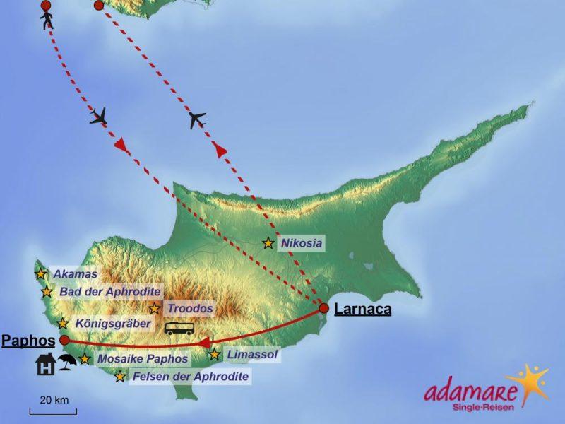 Die Reiseroute für die Standortreise nach Zypern