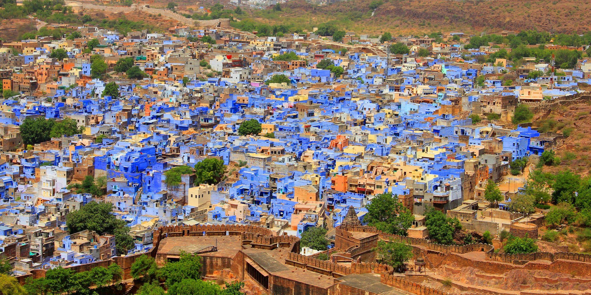 Das blaue Dorf Jodhpur in Indien