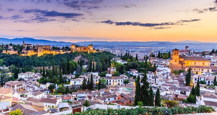 Blick über Granada in Andalusien