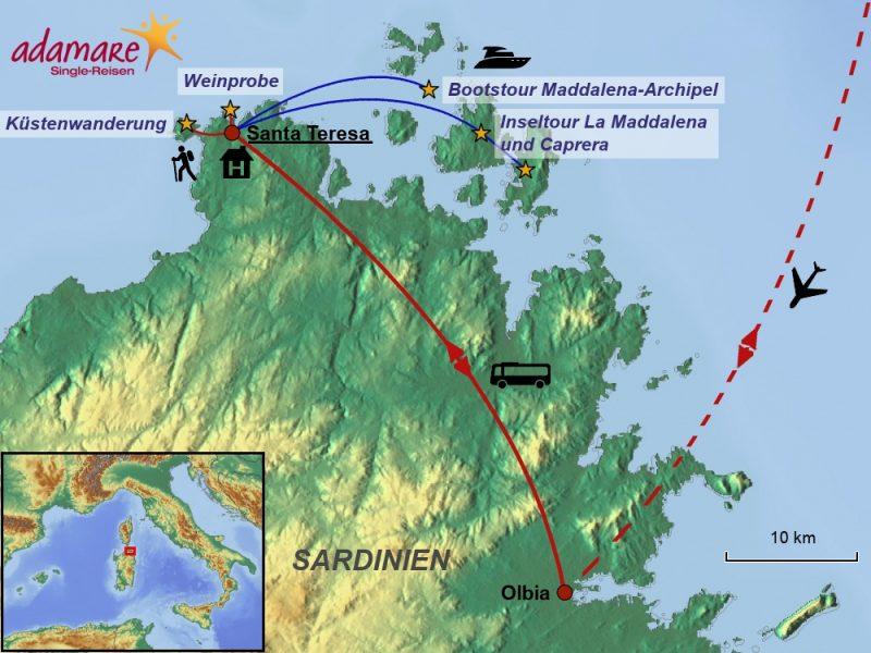 Reiseroute für Sardinien- die Highlights im Nordosten