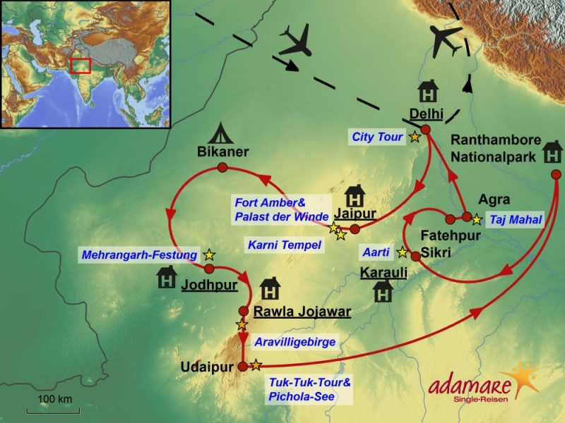 Die Reiseroute für die Abenteuer-Rundreise durch Indien