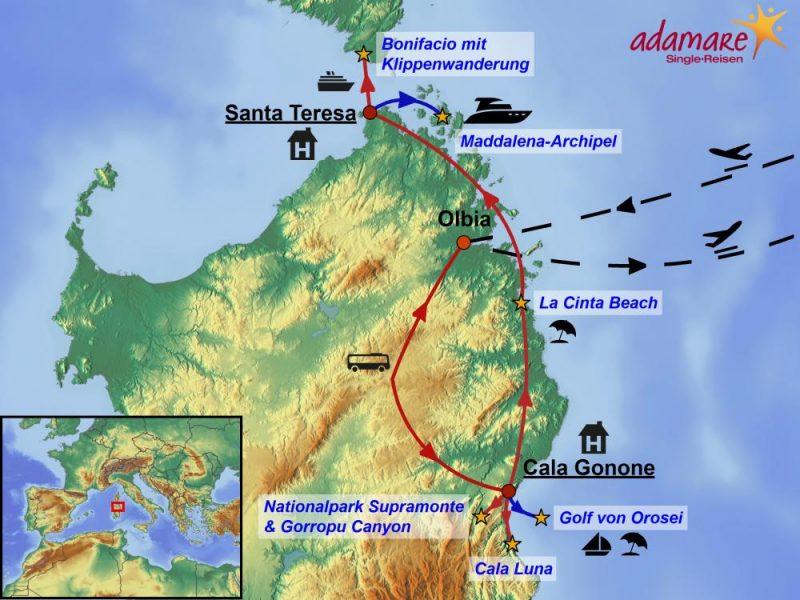 Die Reiseroute für den Singleurlaub auf Sardinien: Norden und Ostküste