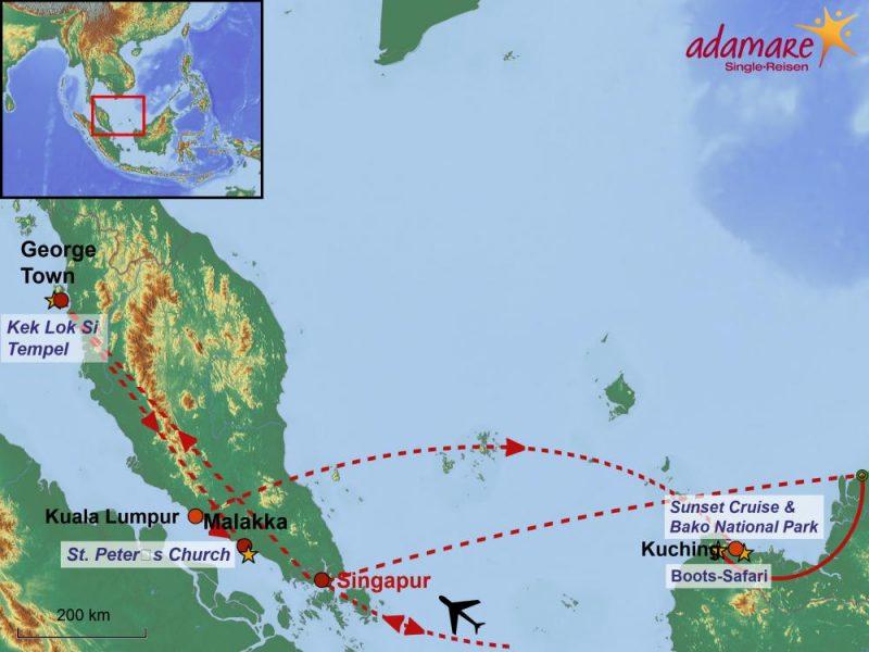 Die Reiseroute für die Malaysia-Rundreise mit Borneo