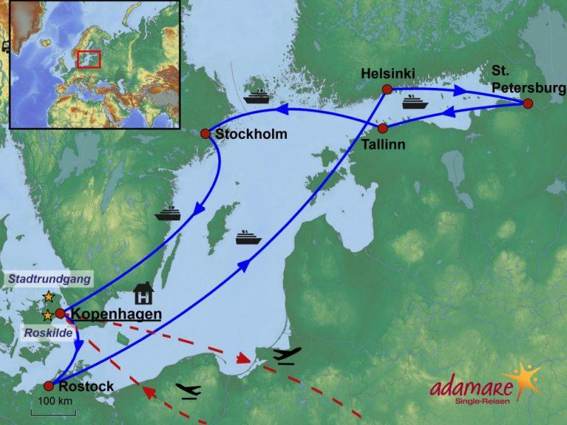 Die Reiseroute für die Singlereise nach Kopenhagen mit Ostsee-Kreuzfahrt