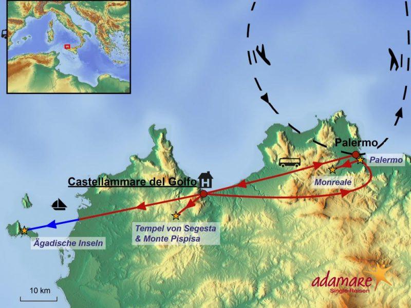 Die Reiseroute für die Sizilien-Standortreise mit den Highlights im Nordwesten