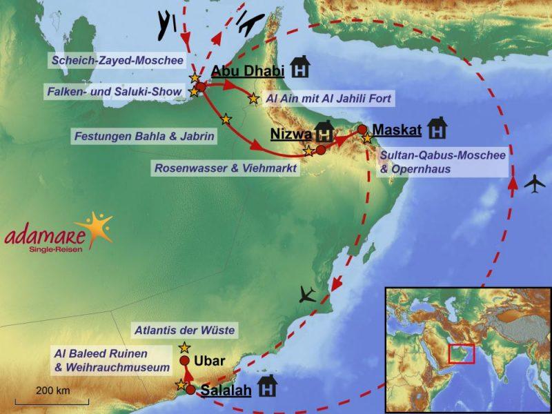 Die Reiseroute für die Deluxe-Reise in die VAE und den Oman