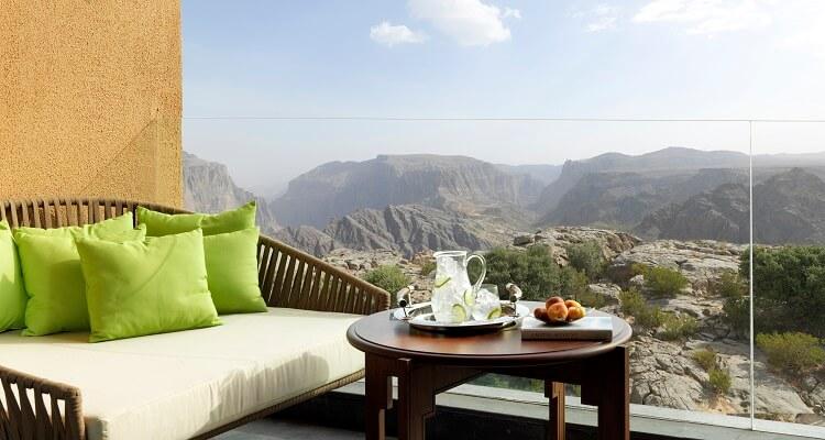 Aussicht vom Balkon im Deluxe Canyon View Zimmer im Al Jabal Akhdar Resort im Oman