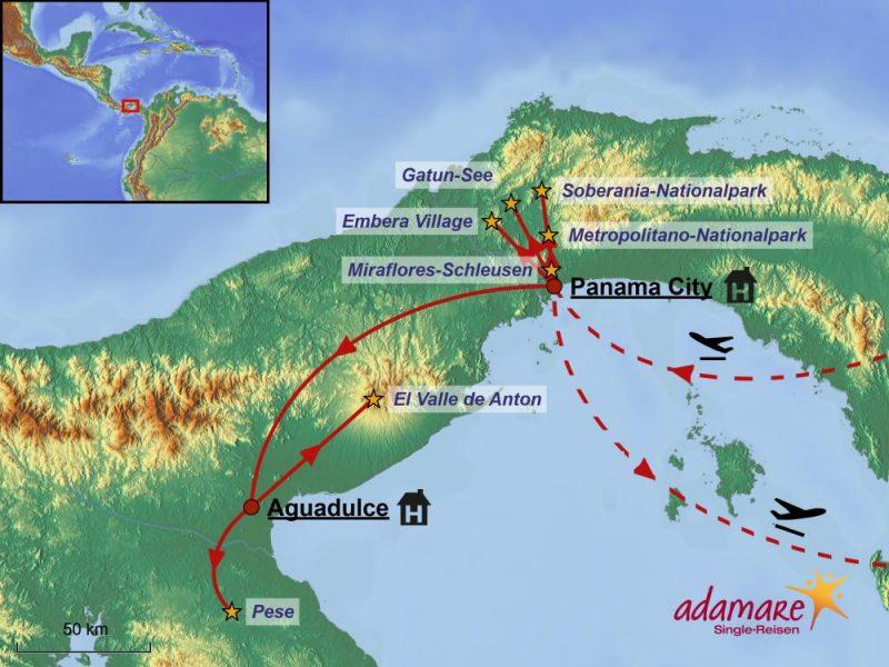 Reiseroute der Silvesterreise nach Panama