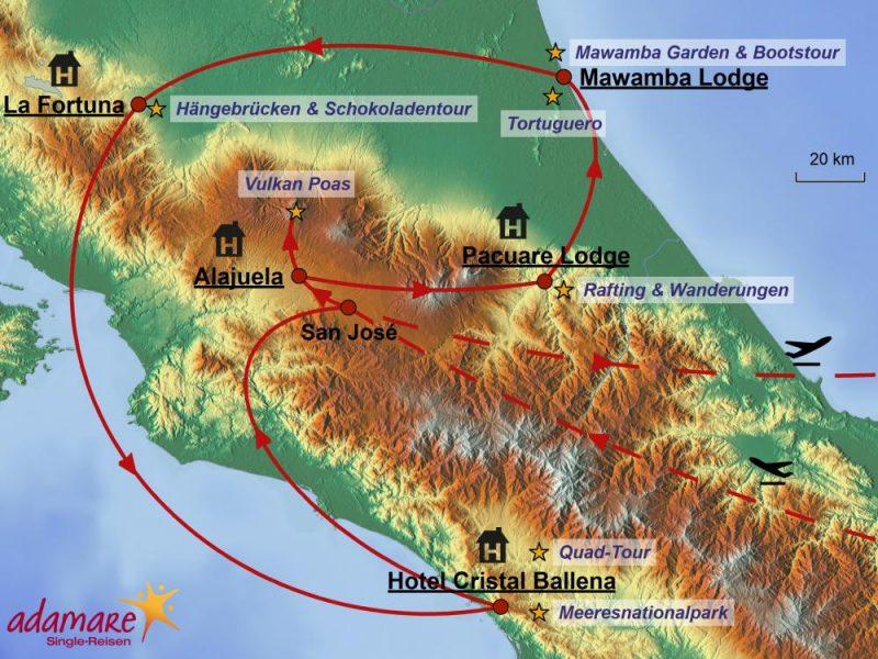 Die Reiseroute für die SInglereise nach Costa Rica