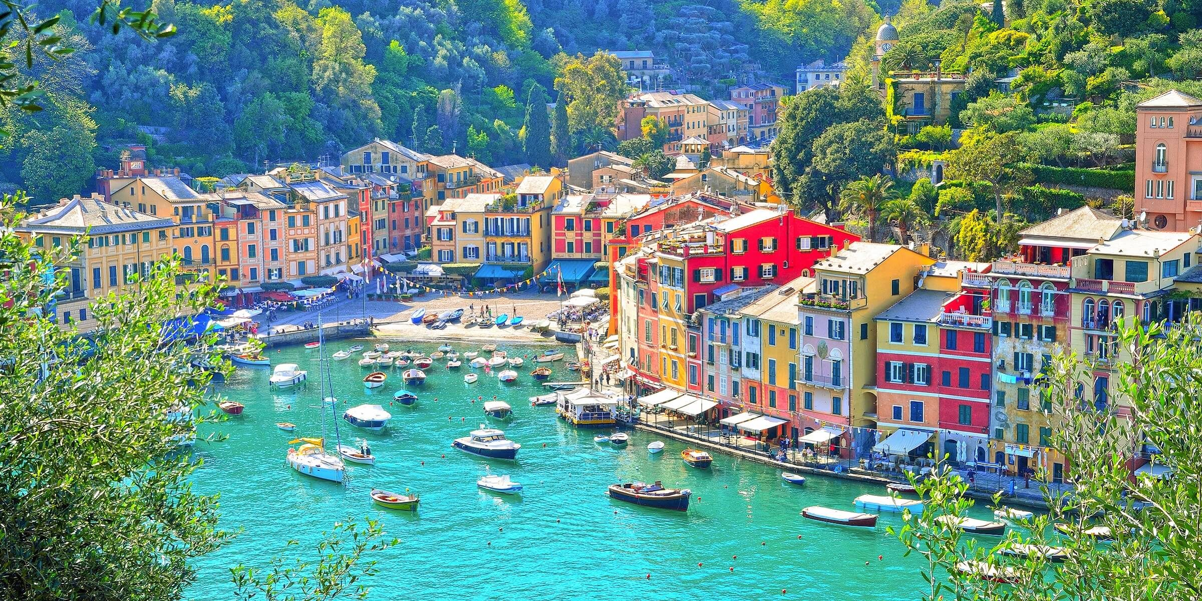Pastellfarbene Häuser in Portofino