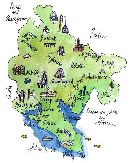 Landkarte Montenegrov