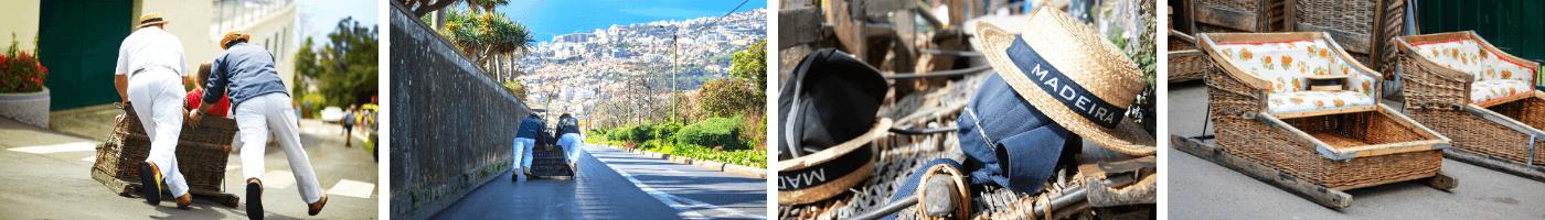Fahrt mit dem Korbschlitten in Funchal auf Madeira
